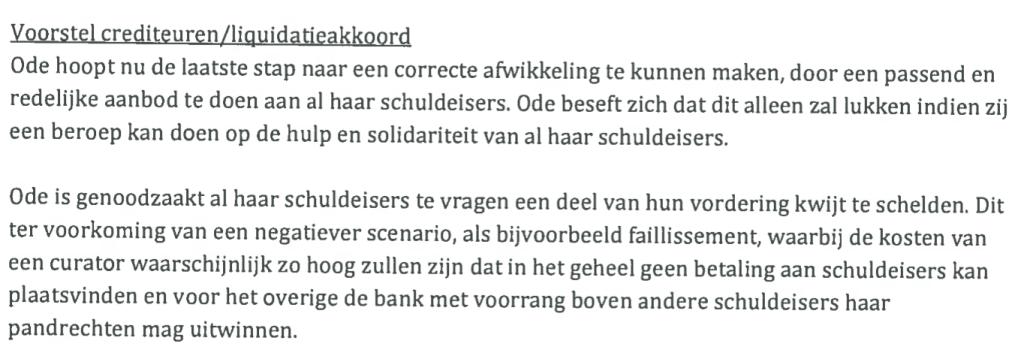 Fragment uit het voorstel voor een crediteurenakkoord, waarin de uitgeverij vraagt op hulp en solidariteit.