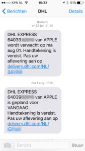 DHL iPhone sms 0108